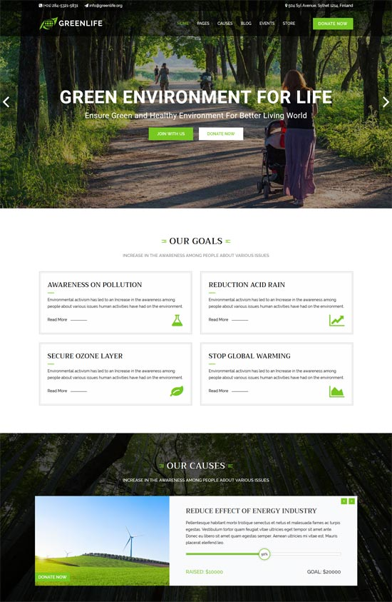 greenlife nature environmental wp theme