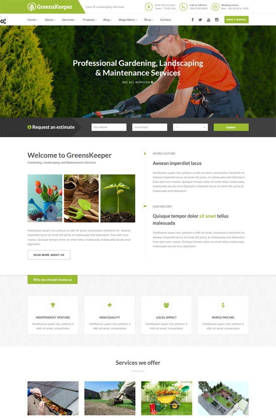 greenskeeper gardening landscaping wordpress theme