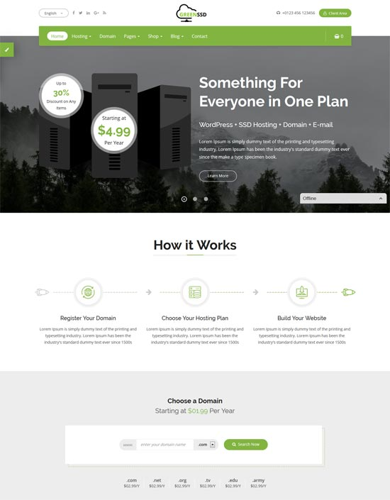 greenssd technology hosting template