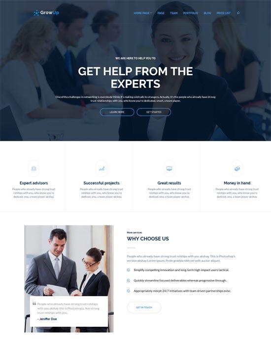 growup business financial wordpress theme