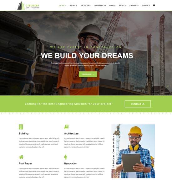 gtbuilder construction building joomla template