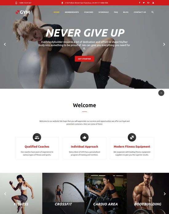 gym html template