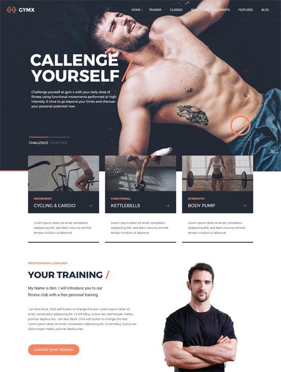 gym x fitness gym wordpress theme
