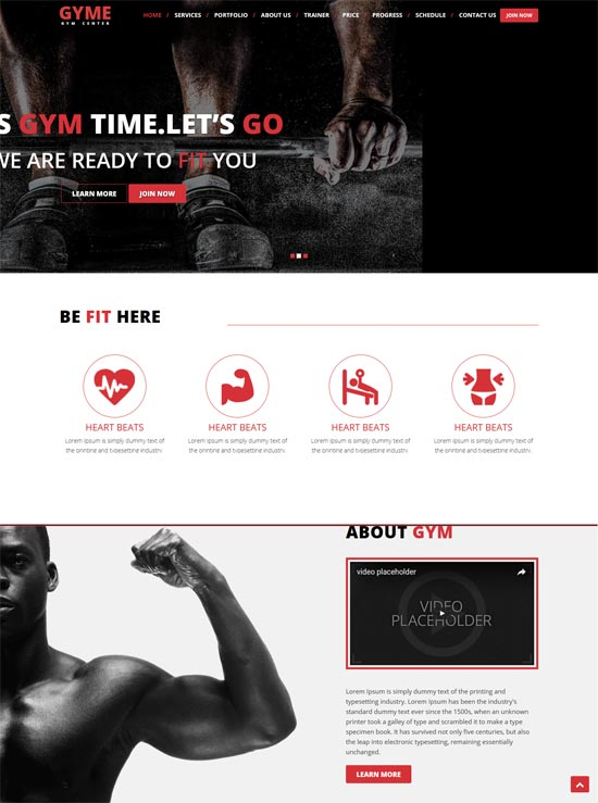 gyme one page responsive template