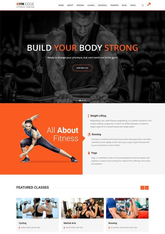 gymedge gym fitness wordpress theme
