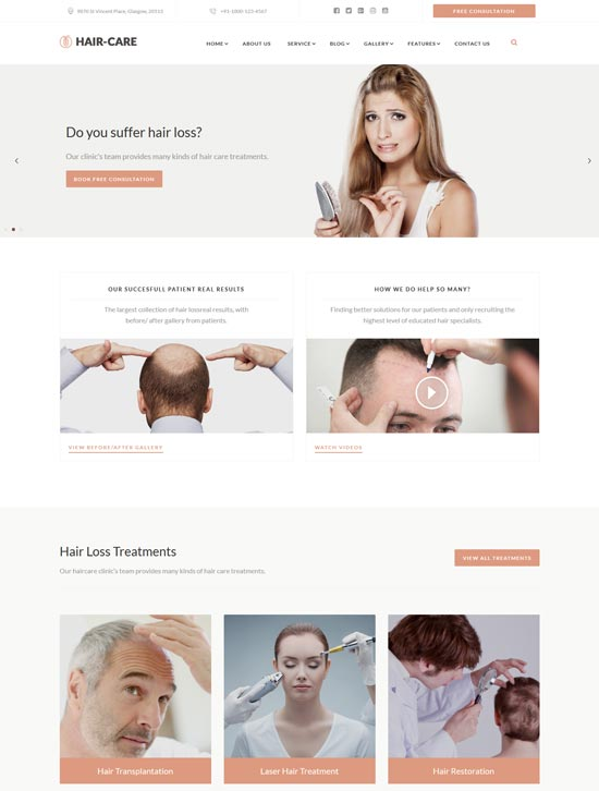 hair care hair clinic website template