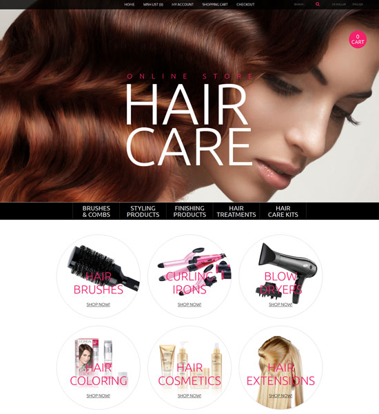 hair care opencart theme