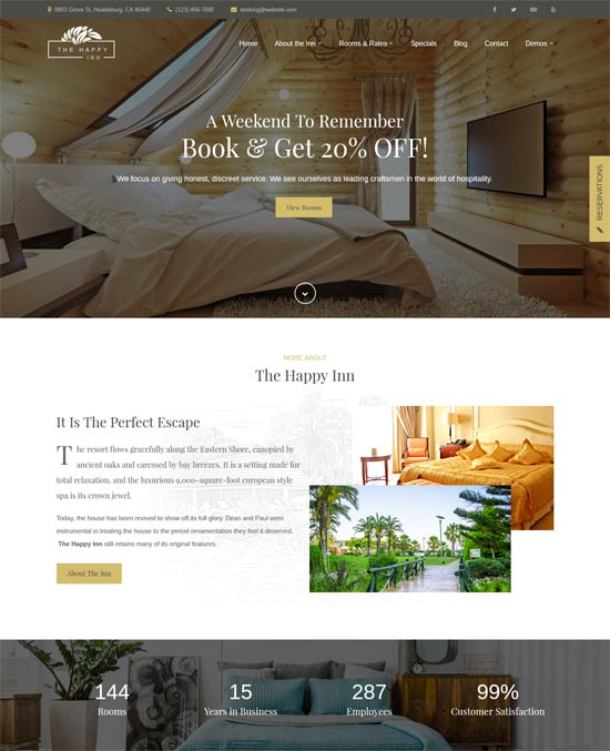 happy inn hotel wordpress theme