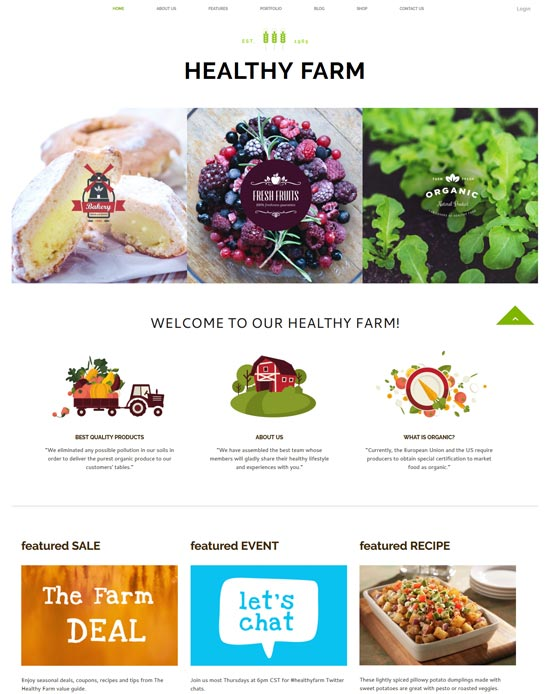 healthy farm food site template