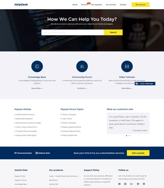 helpdesk wordpress support center theme