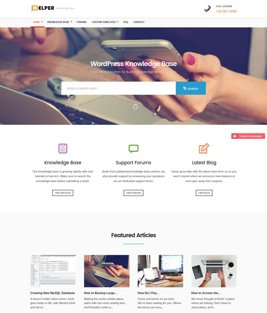 helper knowledge base WordPress theme