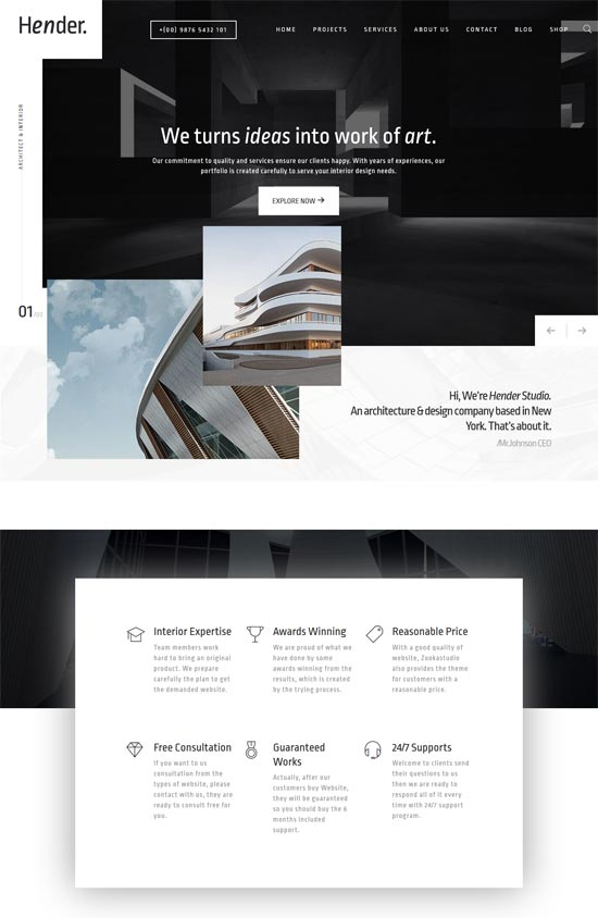 hender architecture agency wordpress theme