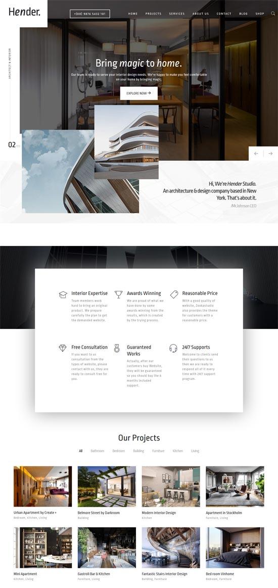 hender interior design agency wordpress theme