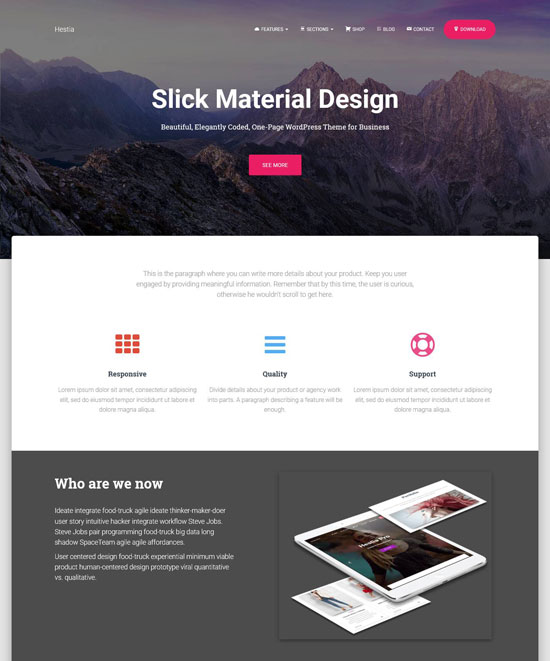 hestia wordpress one page theme