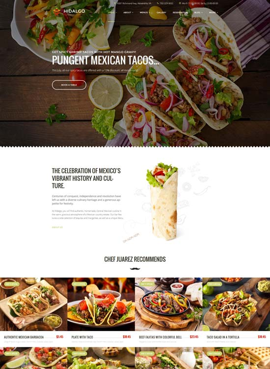 hidalgo mexican food WordPress theme