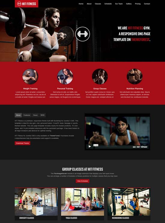 hit fitness gym one page joomla theme