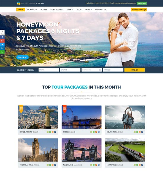 holiday travels online ticket booking html5 template
