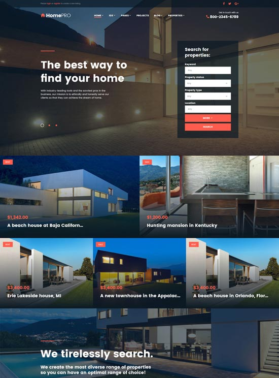 homepro real estate agency website template
