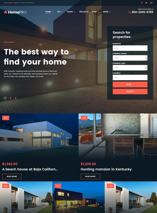homepro real estate WordPress theme