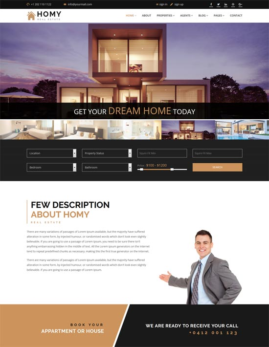 homy real estate html template