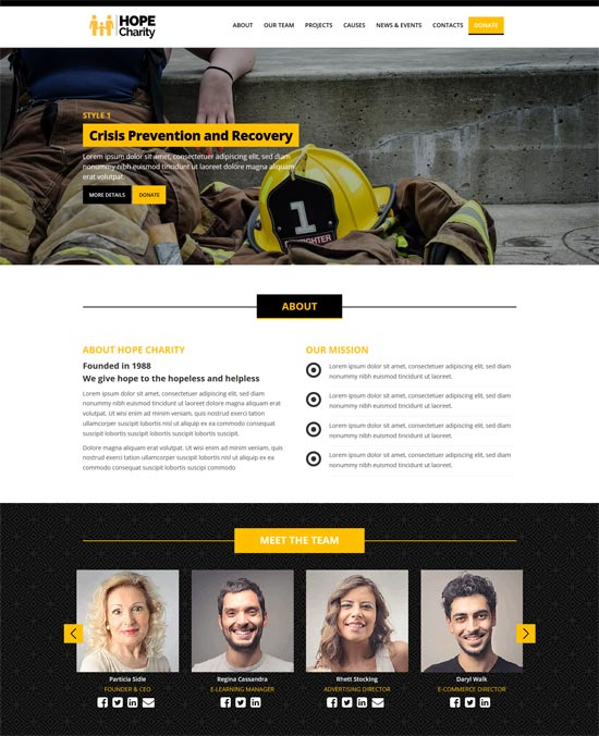 hope charity website template html