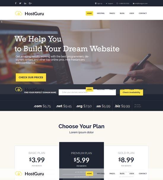 hostguru hosting company template