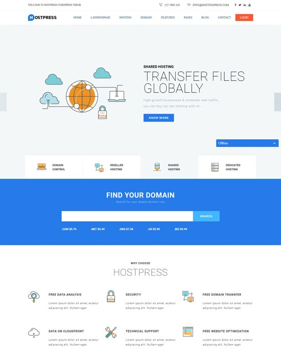 hostingpress hosting WordPress theme whmcs