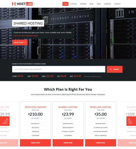 hostlab hosting service template