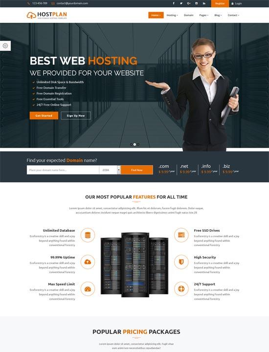 hostplan domain hosting html5 template