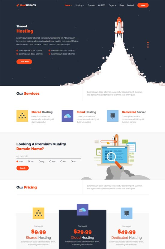 hostwhmcs hosting whmcs wordpress theme
