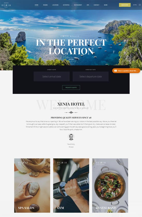 hotel xenia hotel wordpress theme