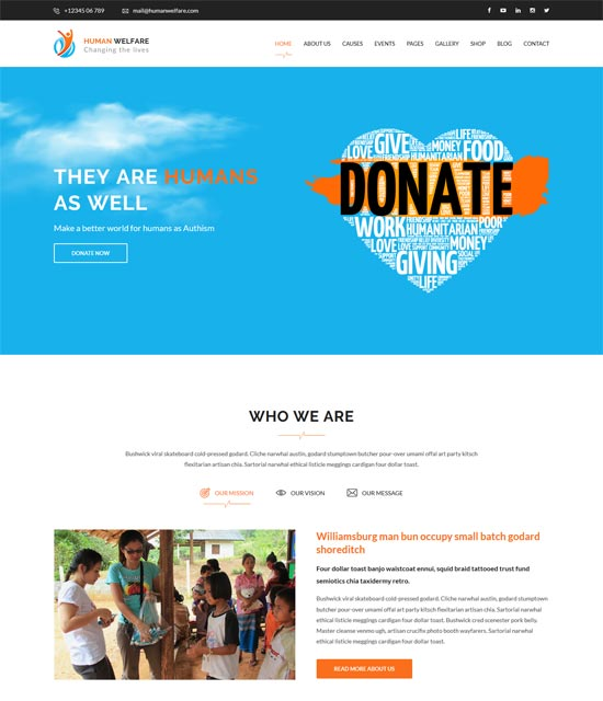human welfare html template for charity
