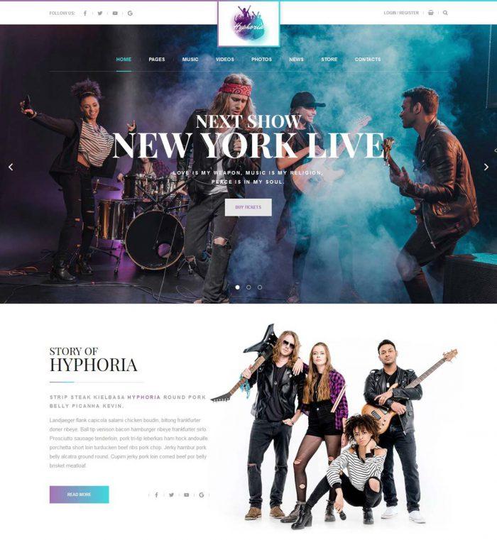 hyphoria rock band wordpress theme