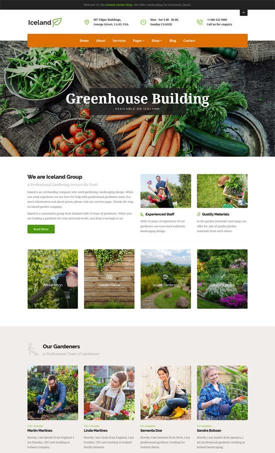 iceland garden landscape responsive site template
