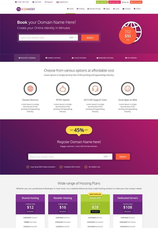 iconhost amazing html web hosting template