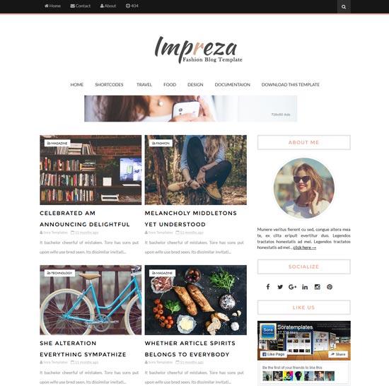 impreza free modern blogger theme