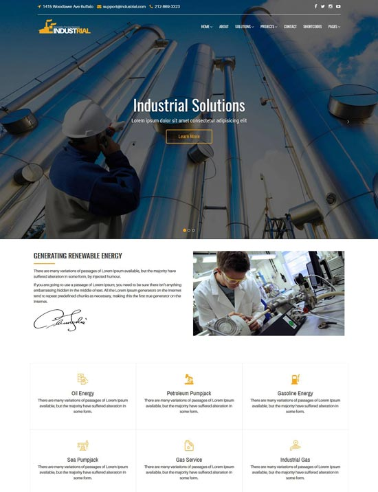 industrial factory solutions html template