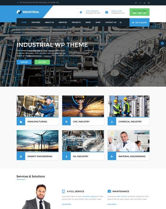 industrial manufacturing WordPress theme