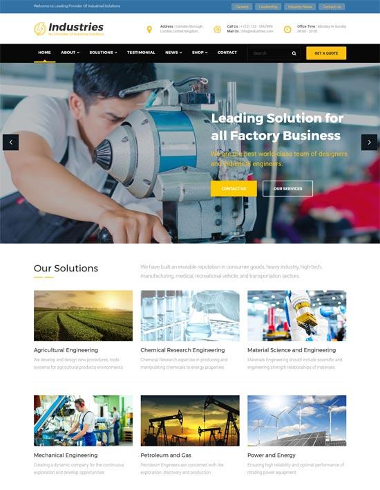 industries factory industrial business wordpress theme