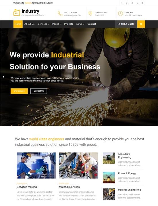 industry factory business wordpress theme