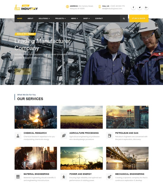 industry press industrial business html template