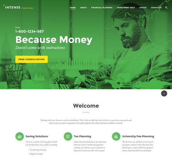 intense financial advisor html template
