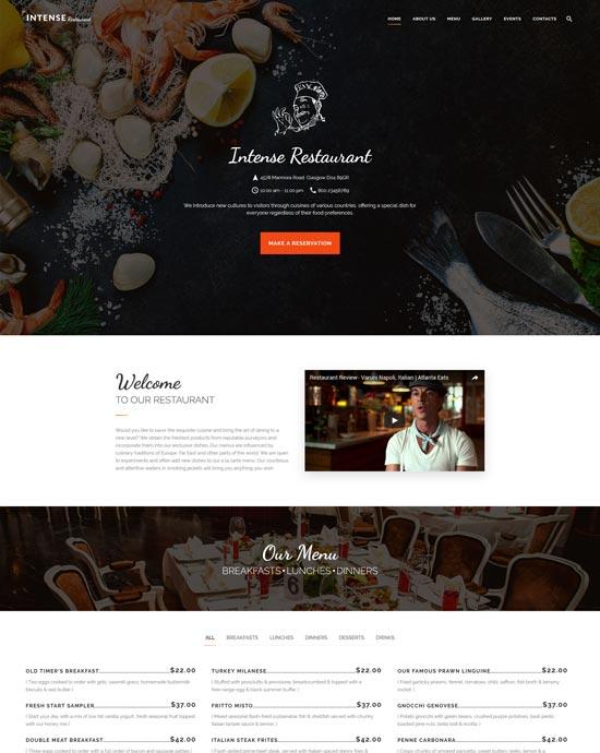 intense restaurant html template