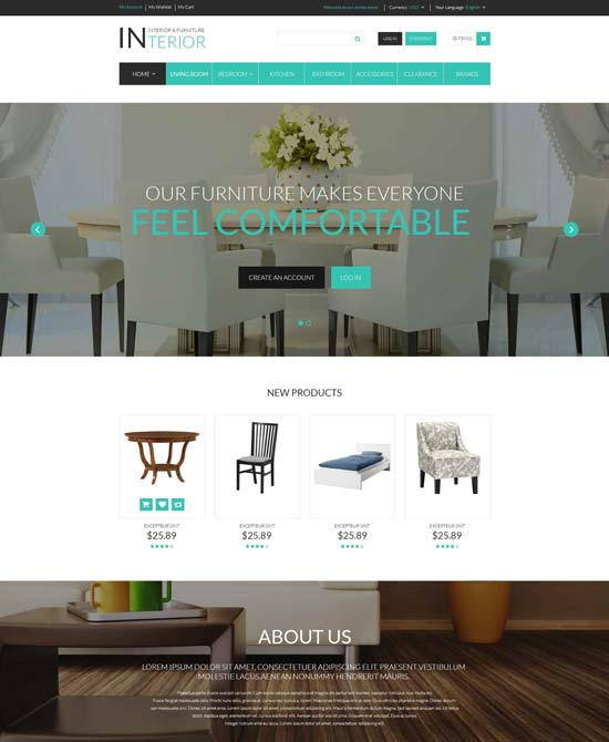 interior furniture responsive magento theme 52693