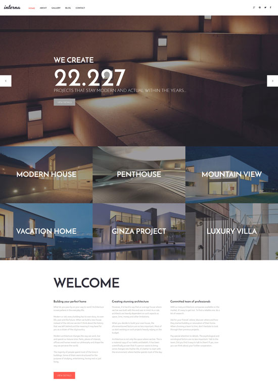 interna architecture portfolio wordpress theme