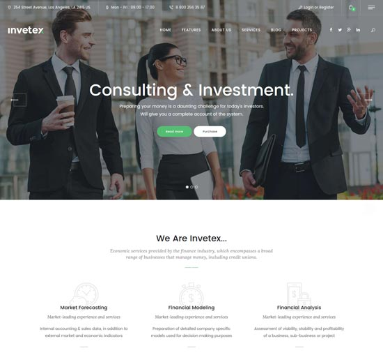 invetex business consulting WordPress theme