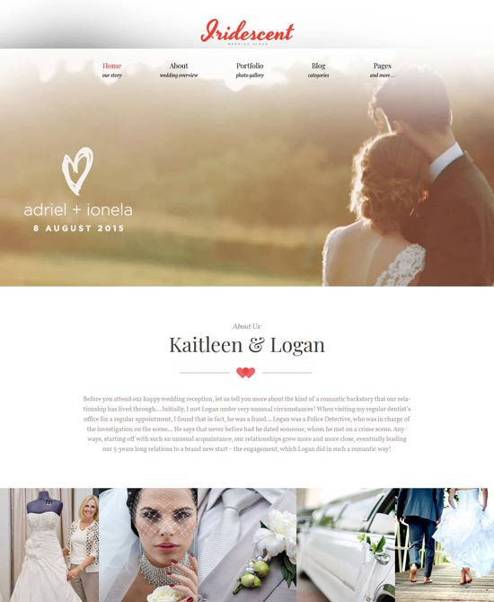 iridescent wordpress wedding album theme