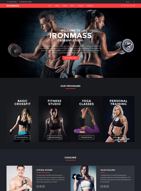 ironmass fitness joomla template