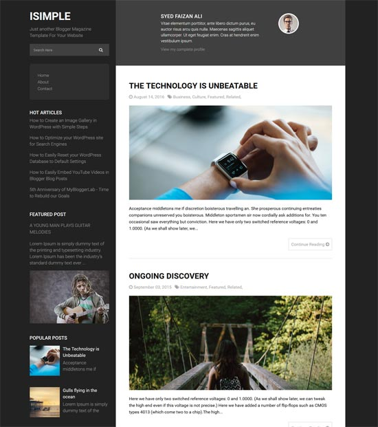 isimple classic free blogger theme
