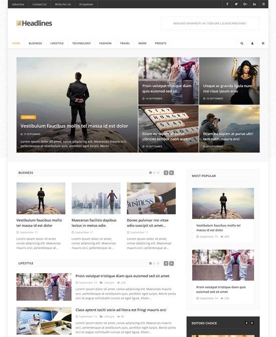 it headlines news magazine blog joomla template